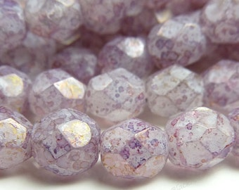 6mm Stone Pink Luster Czech Glass Beads - 8 Inch Strand (25pcs) - Round, Faceted, Fire Polished - BD14