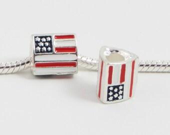 3 Beads - USA Enamel Flag Silver European Charm Bead E0099