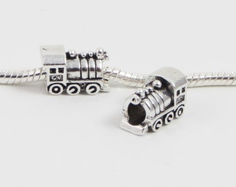3 Beads - Train Locomotive Silver European Bead Charm E0102