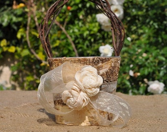 Shabby Chic - Rustic Flower Girl Basket Wood/birch Bark