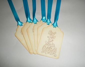 Disney gift tags-Seven Dwarfs favor tags-Princess  party favors-Set of 6