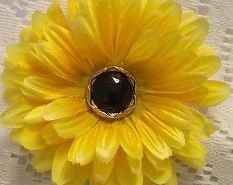 Yellow Daisy Flower Hair Clip Ex Large, Hair Clip, Flower Clip, Yellow Hair Clip, Flower Girl Hair Clip, Teen Hair Clip, Adult Hair Clip