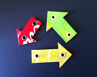 Recycled soda can arrow magnets - Set of 3