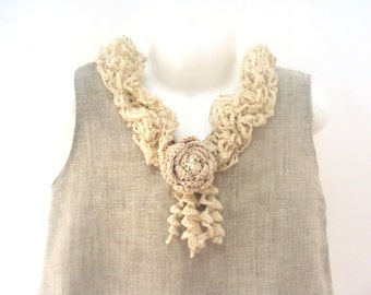 Cream rose /crocheted /sew organic linen baby/ toddler/girl flower dress/tunic with lacy edge