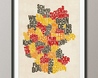 Typography Text Map of Germany Map, Art Print (275)