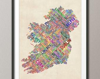 Ireland Eire City Text map, Art Print (310)