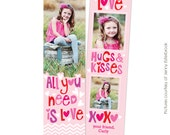 INSTANT DOWNLOAD - Valentine's Bookmark photoshop template - Valentine's designs for photographers - E673