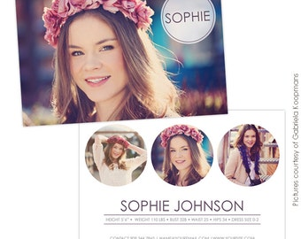 INSTANT DOWNLOAD - Modeling Comp Card Photoshop templates - E753