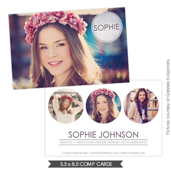instant download modeling comp card photoshop templates e753
