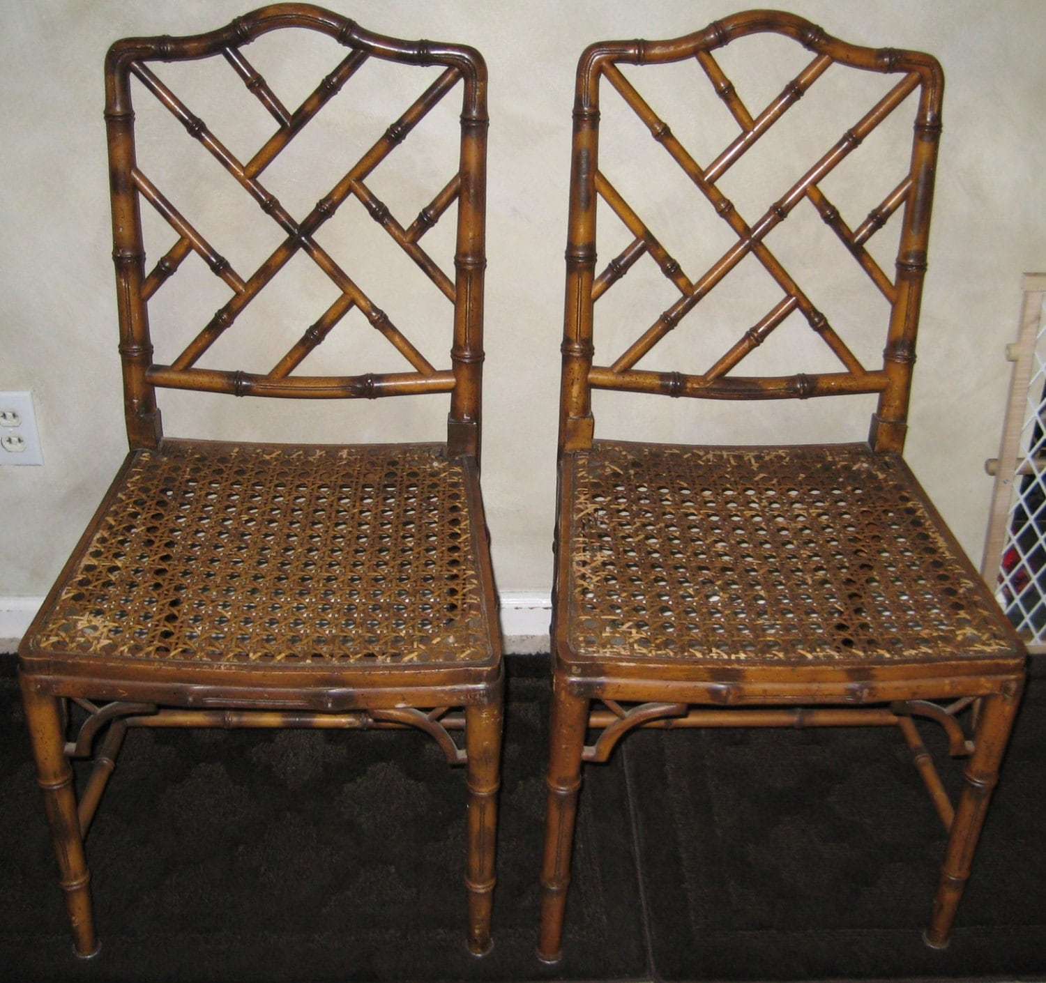 Chinese Chippendale Faux Bamboo Chairs