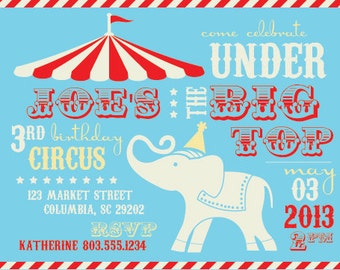 Under the Big Top Birthday Invitation