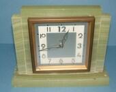 1920s French Art Deco Bayard 8 Day Vintage Mantel Clock Alabaster Mount Antique Clock Vintage Clock Collectible Clock Vintage Mantle Clock