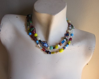 Vintage Multicolored Brazilian Glass Bead Necklace