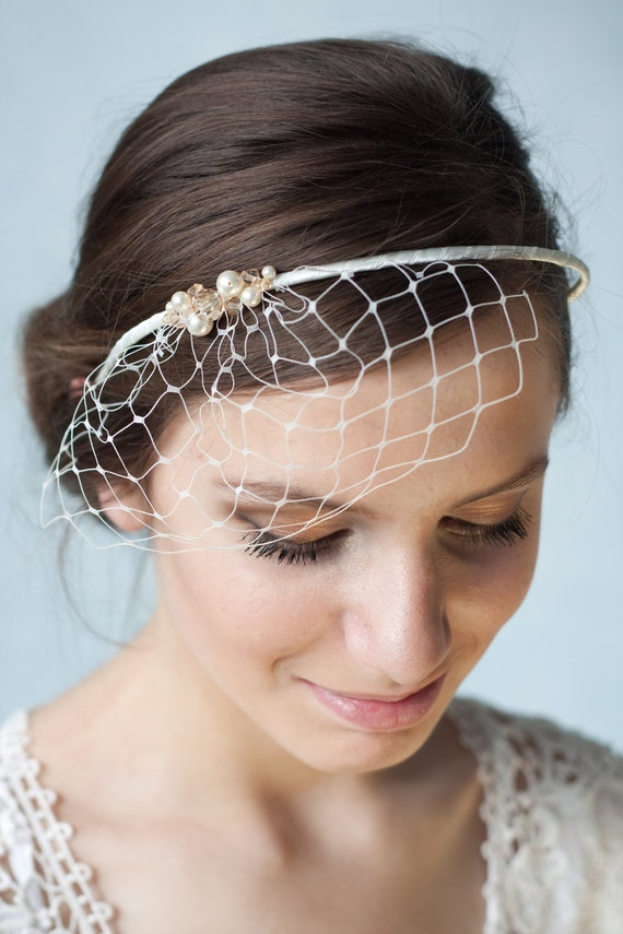 Bridal ivory birdcage veil with Swarovski pearls and crystals, beaded wedding veil, bridal birdcage headband