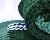 Cozy double thick large forest green crochet afghan, lap blanket, bedding, travel blanket