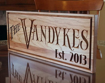 Important Date Sign, Last Name Established Sign, 5th Anniversary Sign,  Benchmark Custom Signs Cherry RY2