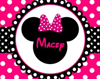 Personalized Beach Towel - Minnie Mouse Polka Dot