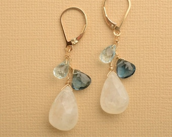 Moonstone Earrings, Gemstone Gold Leverback, London Blue Topaz Earrings, December Birthstone, Gemstone Dangle