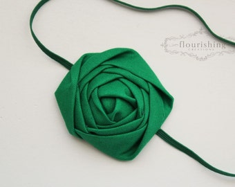 Back to Basics- KELLY GREEN Rosette headband, everyday headbands, rosette headbands, green headbands, newborn headbands, photography prop