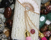 Handmade Charms Pink Fan Chain Rhinestone Pearl Crystal Bling Phone Case For HTC One M7