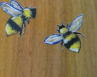 Mini Summer Bees - Art Prints Mounted on Recycled Wood - Two Available