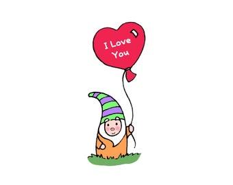 Garden Gnome with I Love You Heart Balloon Print  Balloon Print  Birthday Christmas Gift Names or Phrases Make it your own DIY