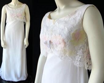 SALE 60s Dress / Wedding / Prom / Party / Metal Zipper / Chiffon / Lace