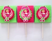 Strawberry Shortcake themed lollipop candy favors (set of 10)
