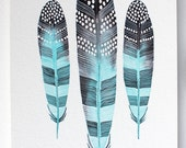 Feather Watercolor Art, Nature Art Print, Giclee Print, Archival Print - 5x7 Taos Feathers