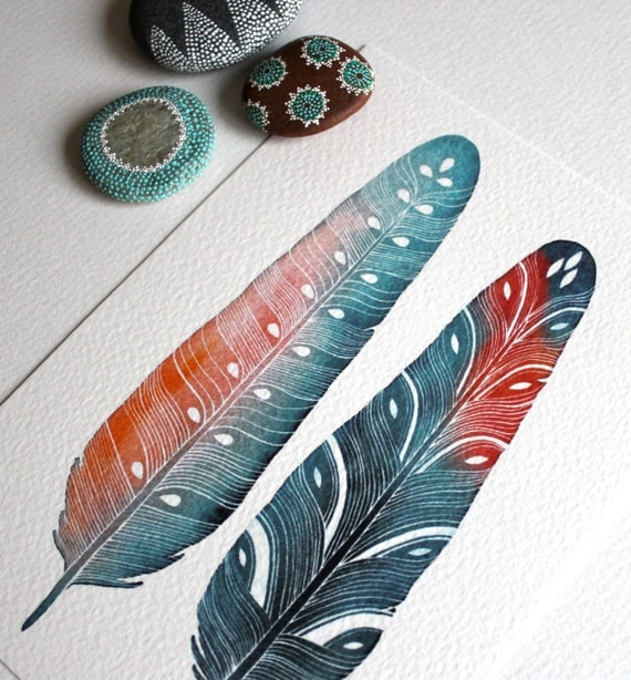 Feather Watercolor Painting - Modern Home Decor - Small Archival Print - 5x7 Luna Feathers
