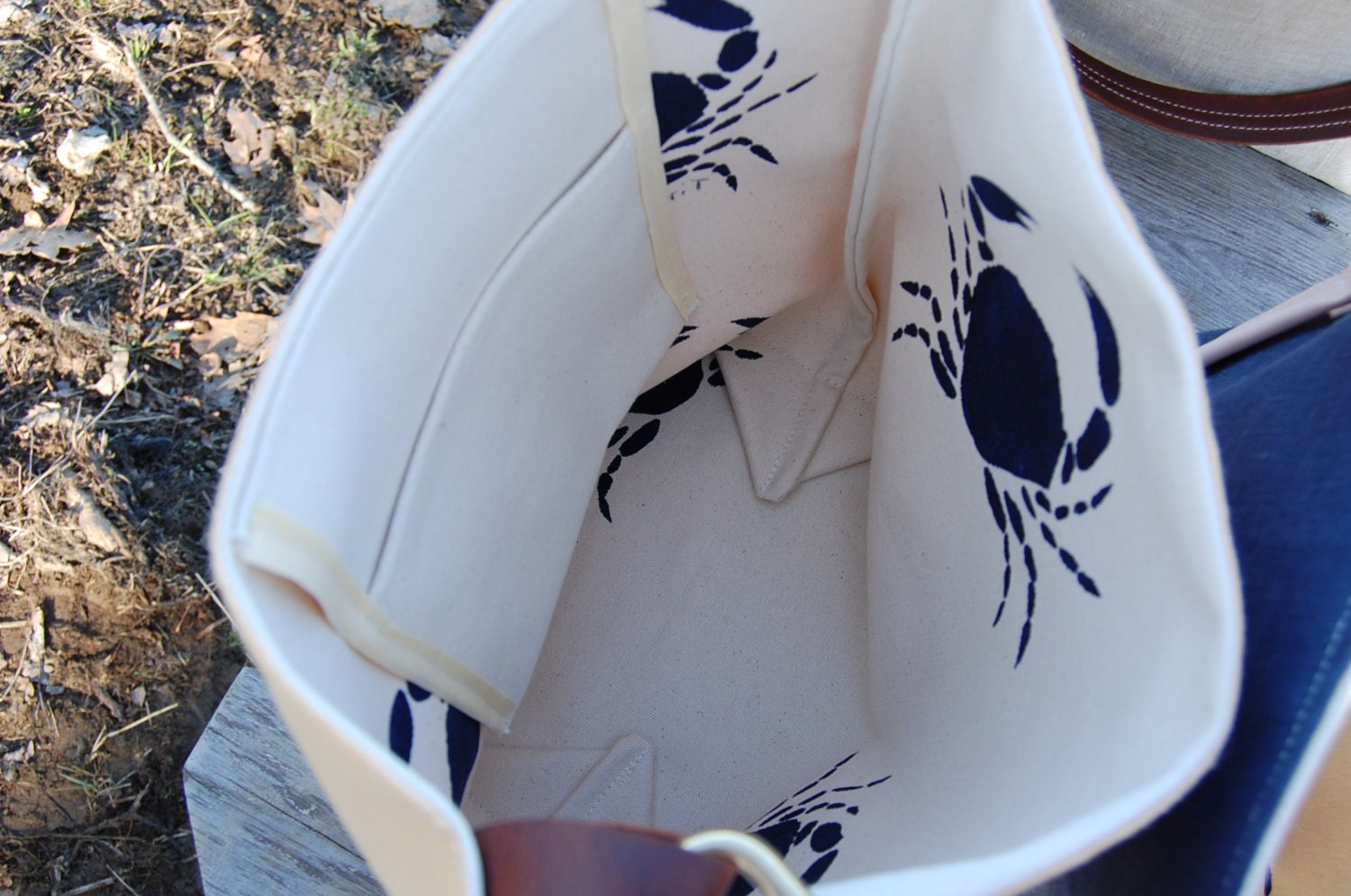 Linen Tote Bag Navy Hand Printed Crabs Handmade Leather