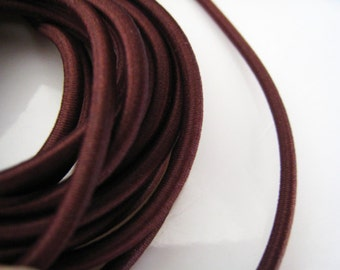 A40 - 5 Yards of 3mm Dark Brown Round Stretch Elastic Drawcord Rope Cord