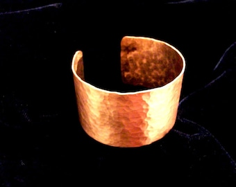Handforged hammered copper bracelet ancient style handcuff handmade