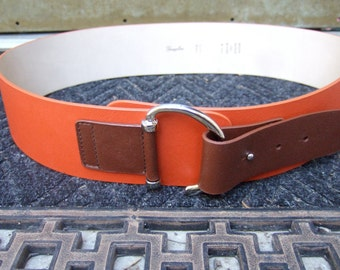 Italian Vintage Leather Belt Designed by Garugliers Size M