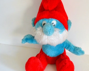 "Vintage Papa Smurf Stuffed Plush 11"" 1979. 1980s 80s cartoon tv show movie collectible. True Blue Friend. Great Condition."