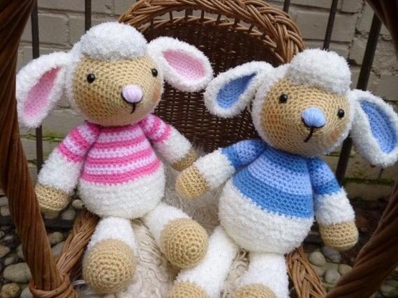 Etsy Amigurumi Sheep : Spring Lamb Dolls, Amigurumi Crochet Pattern, Boy and Girl ...