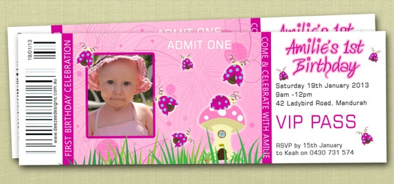 Ticket Style Pretty Ladybug Ladbird Birthday Invitations with – Ticket Style Birthday Invitations