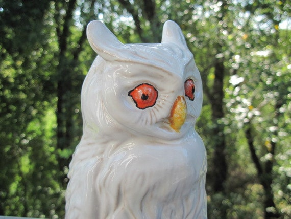 Vintage Large White Ceramic Owl Figurine