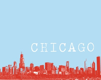 8x10 Chicago Skyline Print