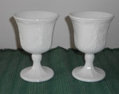 Set of Two Harvest Grape Pattern Milk Glass Goblets