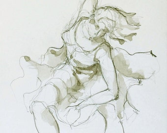 Woman dancing - Original figurative modern art drawing- pencil on acid free paper Sennelier - Female dancing / movement / art / flowing