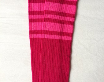 Pink Fuchsia Football Stripe Baby Legs / Baby Girl Leg Warmers- Free Domestic Shipping