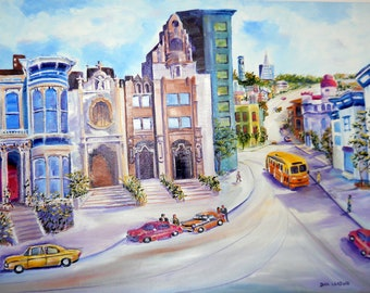 San Francisco Streets, Mission District, Victorians, Dan Leasure OOAK Oil, 33 x 23 inches, Gallery Wrap, Ready To Ship