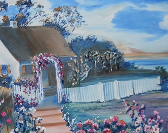 Home Portrait Oil, White House, Storybook House, Lakeside House, Picket Fence, Home Portrait Oil, 13.5,28, Dan Leasure Original Oil