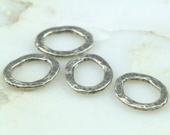 Sterling Oval Links - Hammered Oxidized Links 11x13mm - Qty 4