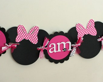 Deluxe Minnie Mouse Highchair Banner, I am 1 Banner, Pink, black and white