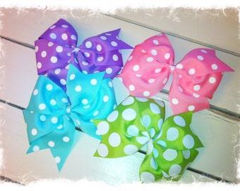 4 Boutique Spring Hair Bows-Easter Hair Bows-Pinwheel Hair Bow-Girls Hair Bows