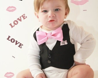 Boys Pink Bow Tie with Vest -Pink Bow Tie Bodysuit with Black Vest-Boys Wedding Apparel-Tuxedo Bodysuit-Baby Boys Tux-Option to add name