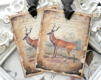 Vintage Deer Gift Tags (Style 4) - Set of 6 - Rustic Gift Tags-Tags for Men-Father's Day Tag-Woodland Party-Vintage Style Tags-Hunting Tags