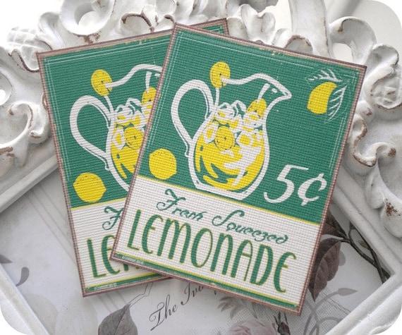 Lemonade Gift Tags (6) Lemonade Note Cards-Lemonade Favor Tags-Lemonade Party-Retro Food Tag-Lemonade Birthday